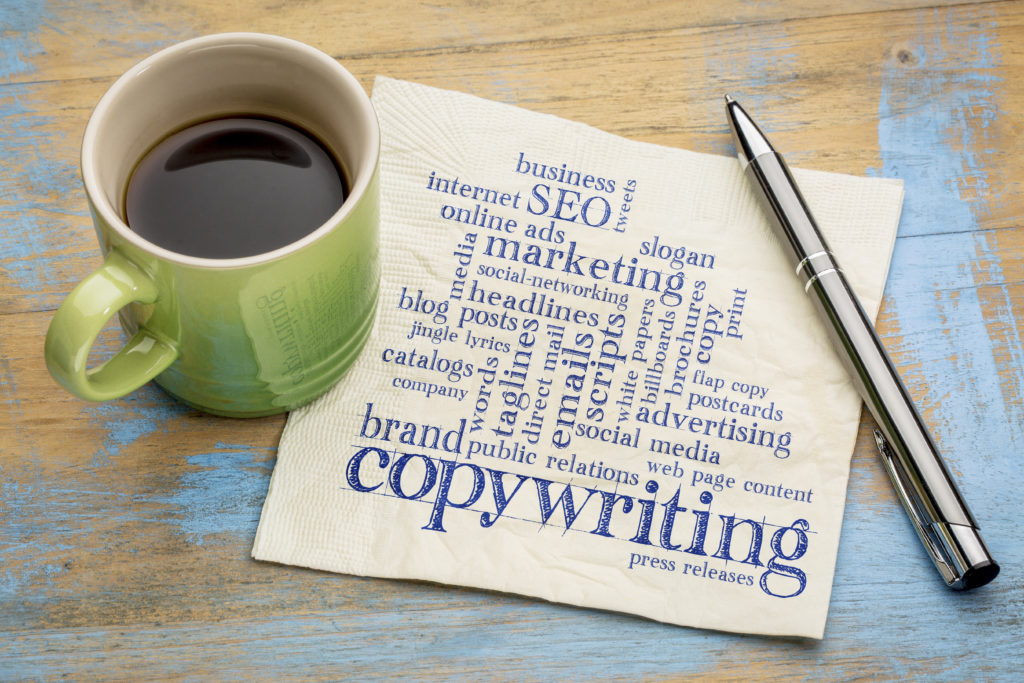 Copywriting, content creation from Sweet Spot Digital Solutions image of coffee and napkin with copywriting word cloud